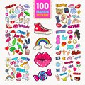 Woman Fashion Stickers Collection with Accessories and Clothes. Girlish Badges Embroidery