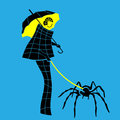 Woman of fashion walking with her spider