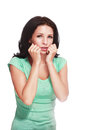 Woman fear face Royalty Free Stock Photo