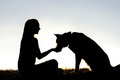 Woman Feeding Pet Dog Treats Silhouette Royalty Free Stock Photo