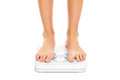 Woman feet on bathroom scales a picture of over white background Stock Photo