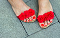 Woman feet in sandals pedicured summer style fashion Royalty Free Stock Photos
