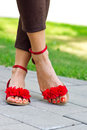 Woman feet in sandals pedicured summer style fashion Royalty Free Stock Photography