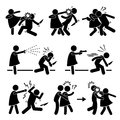 Woman female girl self defense a set of pictograms representing a defending against bad people with different type of methods Royalty Free Stock Photo
