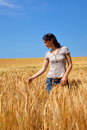 Woman in a field of barley Royalty Free Stock Photography