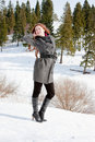 Woman in-field in winter Royalty Free Stock Photo