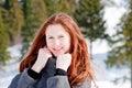 Woman in-field in winter Stock Photo