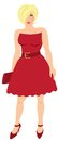 Woman the figure shows a in a red dress with purse Royalty Free Stock Photo