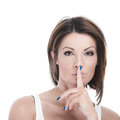 Woman with finger to lips Royalty Free Stock Photo