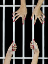 Woman fingers on the bars with red nails holding grip of cage Royalty Free Stock Photo