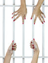 Woman fingers on the bars with red nails holding grip of cage Stock Photography