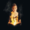 Woman with fire Bible Royalty Free Stock Photo
