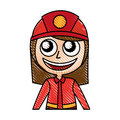 Woman firefighter avatar character icon