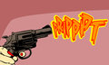 Woman firing a revolver comic book retro style illustration Stock Photos