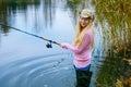 Woman Fishing Royalty Free Stock Image