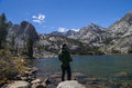 Woman Fishing in Mountain Lake Royalty Free Stock Photo