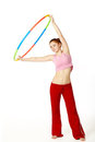 Woman fitness instructor holding hula hoop Royalty Free Stock Photography