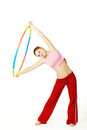 Woman fitness instructor holding hula hoop Royalty Free Stock Image