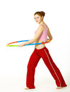 Woman fitness instructor holding hula hoop Royalty Free Stock Photo