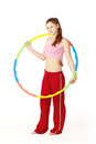 Woman fitness instructor holding hula hoop Royalty Free Stock Images