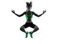 Woman fitness jumping serene zen exercises silhouette