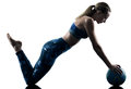 Woman fitness Medicine Ball excercises silhouette Royalty Free Stock Photo