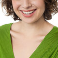 Woman flashing wide smile closeup of cheerful slim smiling heartily Royalty Free Stock Photo