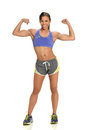 Woman flexing biceps young african american isolated over white background Royalty Free Stock Photography