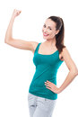 Woman flexing biceps young over white background Royalty Free Stock Image