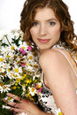 Woman with flower bouquet Royalty Free Stock Images