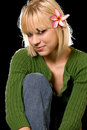 Woman with flower in hair Royalty Free Stock Photography
