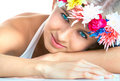 Woman with flower headband Stock Photos