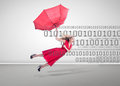 Woman flying with a broken umbrella on binary code background Stock Image