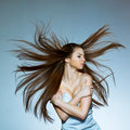 Woman with flying hair Royalty Free Stock Photo
