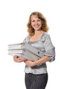 Woman with a folders beautiful confident нeavy on white background Royalty Free Stock Image