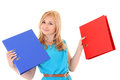 Woman with folders isolated over white background Royalty Free Stock Photo