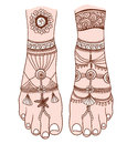 Woman foot with magic mehendi and boho jewelry. Vector illustration isolated.