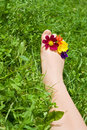 Woman foot relaxing on the grass Royalty Free Stock Image