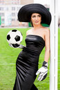 Woman with Football ball Royalty Free Stock Photography
