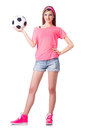 Woman with football on white Royalty Free Stock Images