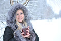 Woman forest drink hot winter tea snow white smile Royalty Free Stock Photography