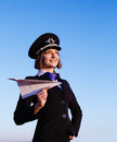 Woman in the form of the stewardess young beautiful soft focus Royalty Free Stock Images