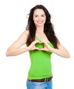 Woman forming love heart  with hands Royalty Free Stock Images