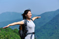 Woman free mountain top Stock Photo