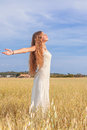 Woman freedom peace summer nature Royalty Free Stock Photo