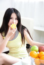 Woman with fresh fruits orange Stock Photos