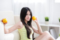 Woman with fresh fruits orange Royalty Free Stock Image