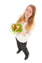 Woman with fresh salad for diet holding in glass bowl Stock Image