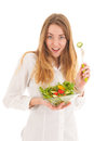 Woman with fresh salad for diet holding in glass bowl Royalty Free Stock Images