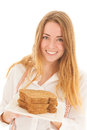 Woman with freshbrown bread for diet holding plate slices fresh brown Royalty Free Stock Photos